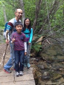 Hubby and kids hike